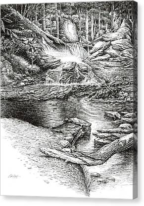 Canvas Print featuring the drawing To Laurel Falls by Bob  George
