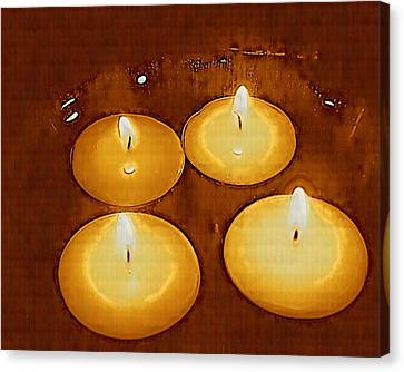 Candle Lit Canvas Print - To Light Up The Dark For Peace by Pepita Selles