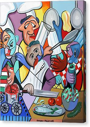 Cubism Canvas Print - To Many Cooks In The Kitchen by Anthony Falbo
