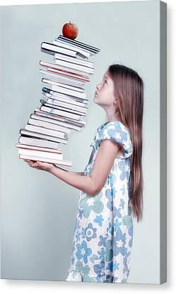 To Many Schoolbooks Canvas Print by Joana Kruse