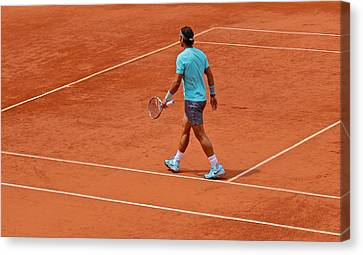 Rafael Nadal To The Baseline Canvas Print by Alexi Hoeft