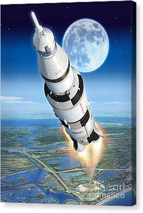 To The Moon Apollo 11 Canvas Print by Stu Shepherd