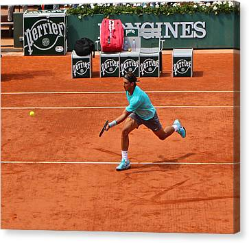 Rafael Nadal To The Net Canvas Print by Alexi Hoeft