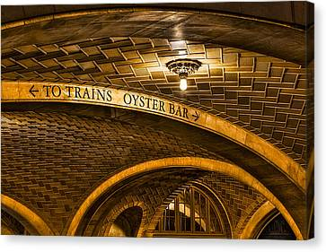 To Trains And Oyster Bar Canvas Print by Susan Candelario