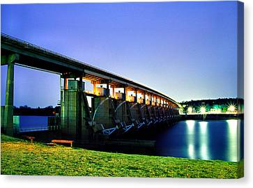 Canvas Print featuring the photograph Toad Suck Dam At Night by Jason Politte