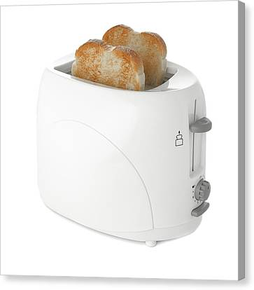 Toaster With Toast Canvas Print by Science Photo Library