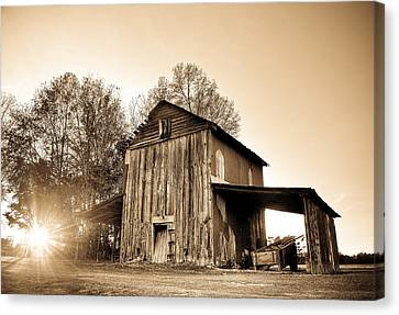 Tobacco Barn In Sunset Canvas Print