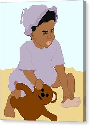 Toddler And Teddy Canvas Print