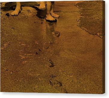 Toddler Footprints In The Sand Canvas Print by Dan Sproul