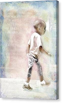 Canvas Print featuring the digital art Toddler On The Prowl by Davina Washington