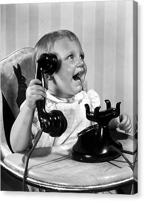 Toddler With Telephone Canvas Print by Underwood Archives