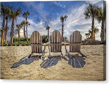 Adirondack Chairs On The Beach Canvas Print - Toes In The Sand by Debra and Dave Vanderlaan