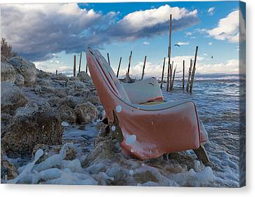 Toes In The Surf Canvas Print by Scott Campbell