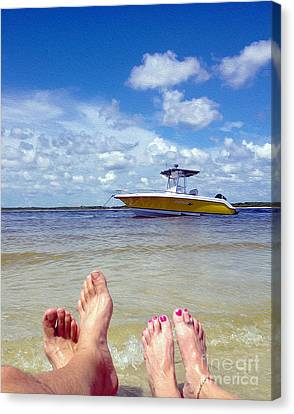 Toes In The Water Painting Canvas Print by Jon Neidert