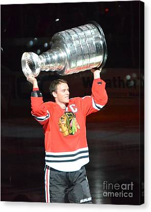 Canvas Print featuring the photograph Toews Holds The Stanley Cup by Melissa Goodrich