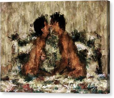 Passionate Lovers Canvas Print - Together by Kurt Van Wagner