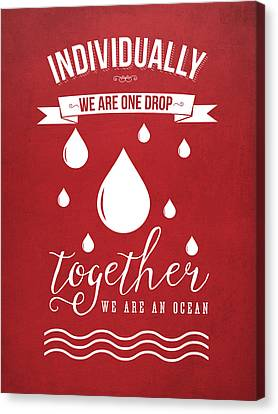 Together We Are An Ocean - Red Canvas Print by Aged Pixel