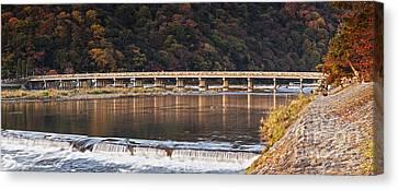 Togetsukyo Bridge And Katsura River Panorama Arashiyama Kyoto Ja Canvas Print