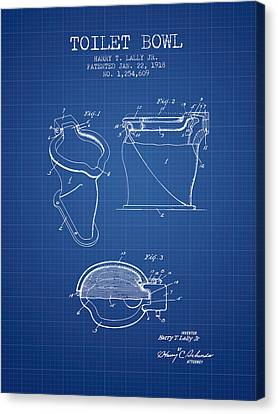 Toilet Bowl Patent From 1918 - Blueprint Canvas Print by Aged Pixel