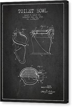 Toilet Bowl Patent From 1918 - Charcoal Canvas Print by Aged Pixel