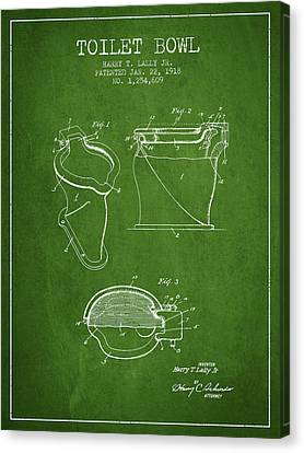 Toilet Bowl Patent From 1918 - Green Canvas Print by Aged Pixel