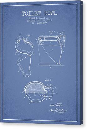 Toilet Bowl Patent From 1918 - Light Blue Canvas Print by Aged Pixel