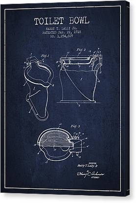 Toilet Bowl Patent From 1918 - Navy Blue Canvas Print by Aged Pixel