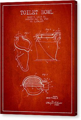 Toilet Bowl Patent From 1918 - Red Canvas Print by Aged Pixel
