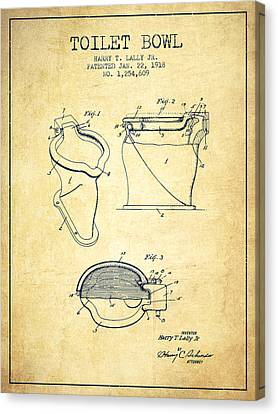 Toilet Bowl Patent From 1918 - Vintage Canvas Print by Aged Pixel