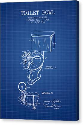 Toilet Bowl Patent From 1936 - Blueprint Canvas Print by Aged Pixel