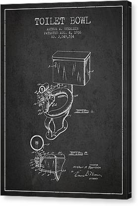 Toilet Bowl Patent From 1936 - Charcoal Canvas Print by Aged Pixel