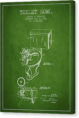 Toilet Bowl Patent From 1936 - Green Canvas Print by Aged Pixel