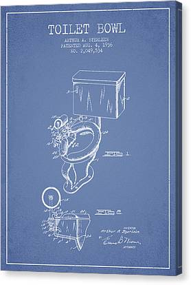 Toilet Bowl Patent From 1936 - Light Blue Canvas Print