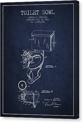 Toilet Bowl Patent From 1936 - Navy Blue Canvas Print by Aged Pixel