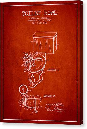 Toilet Bowl Patent From 1936 - Red Canvas Print by Aged Pixel