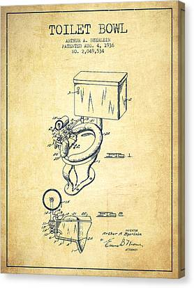 Toilet Bowl Patent From 1936 - Vintage Canvas Print by Aged Pixel