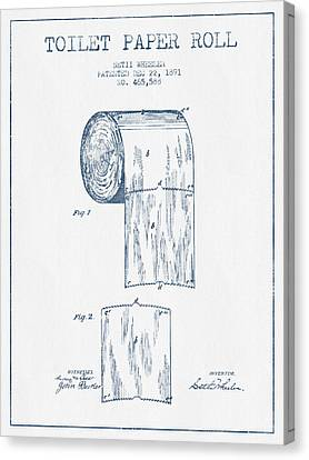 Toilet Paper Roll Patent Drawing From 1891  - Blue Ink Canvas Print by Aged Pixel