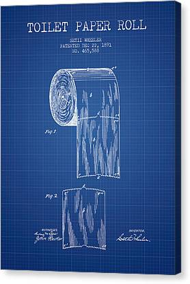 Toilet Paper Roll Patent Drawing From 1891 - Blueprint Canvas Print