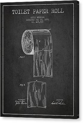 Toilet Paper Roll Patent Drawing From 1891 - Dark Canvas Print