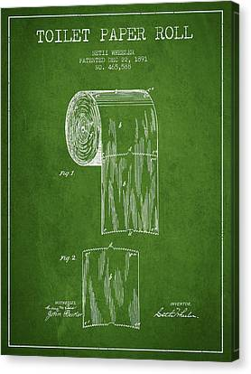 Toilet Paper Roll Patent Drawing From 1891 - Green Canvas Print by Aged Pixel