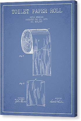Toilet Paper Roll Patent Drawing From 1891 - Light Blue Canvas Print
