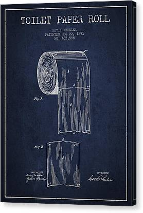 Toilet Paper Roll Patent Drawing From 1891 - Navy Blue Canvas Print by Aged Pixel