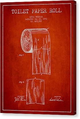 Toilet Paper Roll Patent Drawing From 1891 - Red Canvas Print by Aged Pixel