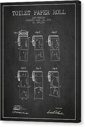 Toilet Paper Roll Patent From 1891 - Charcoal Canvas Print by Aged Pixel