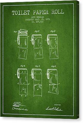 Toilet Paper Roll Patent From 1891 - Green Canvas Print by Aged Pixel