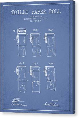 Toilet Paper Roll Patent From 1891 - Light Blue Canvas Print by Aged Pixel