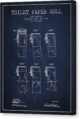 Toilet Paper Roll Patent From 1891 - Navy Blue Canvas Print