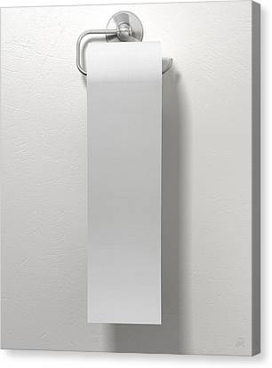 Toilet Roll On Chrome Hanger Canvas Print by Allan Swart