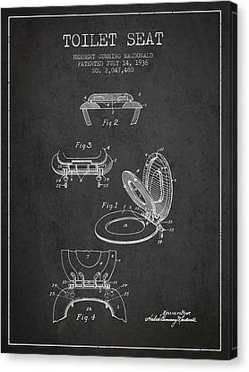 Toilet Seat Patent From 1936 - Charcoal Canvas Print by Aged Pixel