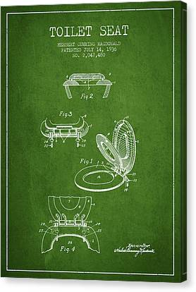 Toilet Seat Patent From 1936 - Green Canvas Print by Aged Pixel
